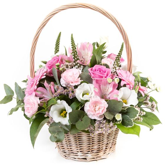 Flower Basket Arrangements Uk : Pink cream basket funeral flowers